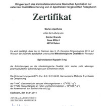 "Zertifikat ""Spironolacton-Kapseln""   Marien-Apotheke Reken"