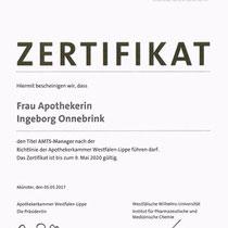 "Zertifikat ""AMTS-Manager Apothekerkammer Westfalen-Lippe""   Marien-Apotheke Reken"