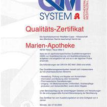 Qualitätszertifikat QM System |  Marien-Apotheke Reken