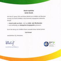"Zertifikat ""Klimaschutz 100% Ökostrom""   Marien-Apotheke Reken"