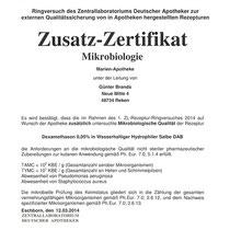 """Zusatz-Zertifikat """"Mikrobiologie""""   Marien-Apotheke Reken"""