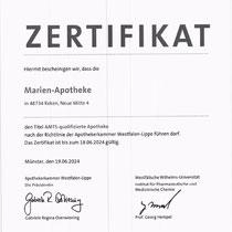 Zertfifkat Marien Apotheke Reken   AMTS-qualifizierte Apotheke 2021