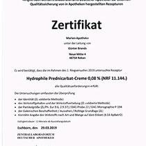 "Zertifikat ""Hydrophile Prednicarbat-Creme""   Marien-Apotheke Reken"