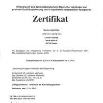 """Zertifikat """"Estradiolbenzoat in Isopropanol""""   Marien-Apotheke Reken"""