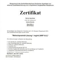 "Zertifikat ""Metoclopramid-Lösung""   Marien-Apotheke Reken"
