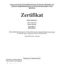 """Zertifikat """"Durchführung von Blutuntersuchungen in der Apotheke""""   Marien-Apotheke Reken"""