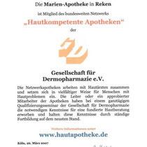 """Zertifikat """"Hautkompetente Apotheken""""   Marien-Apotheke Reken"""