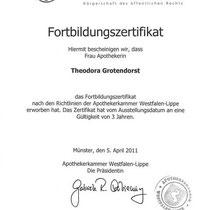 """Fortbildungszertifikat Apothekerkaer Westfalen-Lippe""""   Marien-Apotheke Reken"""