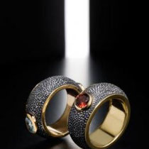 33 Verette in ferro con pietre incastonate nel galuchat, montature interno in oro  / very simple wedding-ring in iron galuchat , stones( on request) set in gold.