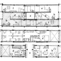 上:住居部分断面図 下:住居部分平面図 a廊下 b居間 cキッチン dダイニング e主寝室 f子供室