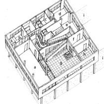 2階軸測投影図:a広間 b厨房 c客室 d子ども室 e寝室 f居間 gテラス h有蓋テラス i車路