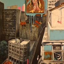 Salvador de Bahia de Todos os Santos, 2011, Acryl, Holz, Schlagmetall, Rost, Grünspan auf Leinwand, 1,4 x 1m