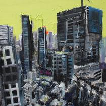 Mumbai, 2012, Acryl, Lack, Heu und mixed media auf Leinwand, 1,0 x 0,8m