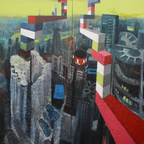 Shanghai sky, 2012, Acryl, Lack, Heu und mixed media auf Leinwand, 2,0 x 1,8m (2-teilig)