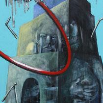 Ikarus, 2011, Acryl, Lack, Wachs, Spachtelmasse, Rost auf Leinwand, 1,5 x 0,5m