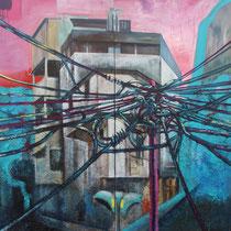 Favela, 2012, Acryl, Lack, Heu und mixed media auf Leinwand, 2,0 x 1,8m (2-teilig)