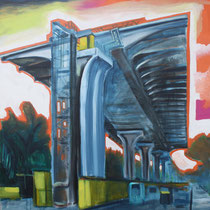 Highway India, 2012, Acryl, Lack auf Leinwand, 1,0 x 1,0m