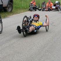 Freude nach der Silbermedaille im Zeitfahren