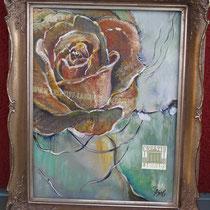 Original: Country-LebensArt, BriSch, autumn rose, vergeben (Acryl auf Leinwand)