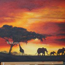 Original: Country-LebensArt, BriSch, African Sunset - fuer die Tochter das Wunschbild - vergeben :-), (Acryl auf Leinwand)