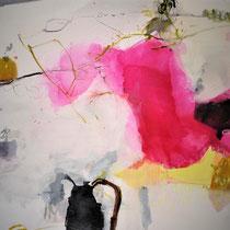 60 x 70, Pigment, Papier, Tusche, Leinwand