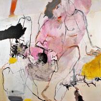 """Frau mit Blume"" 100 x 100, Pigment, Papier, Tusche, Leinwand"