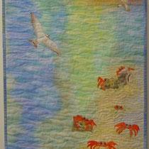 2012 © ge.ZEITEN.krabben.BLICKE 120x40cm €410, malt bakgrunn, maskinapplikasjon, maskinquilting, bomull, organza, tekstilmaling, paintsticks