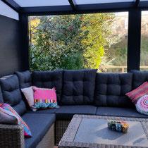 Tuinkamer glasdeuren in zijwand almere