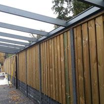 Hout beton schutting en veranda dak Oss