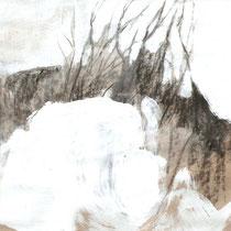 O.T.,  2012, Mischtechnik auf braunem Papier, 30X30cm