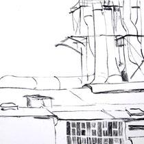 O.T., 2010/11, Kohle auf Papier, 30x42 cm
