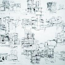 Instalation aus Zeichnungen 30x42cm, 2010-2014, Kohle auf Papier, Gesamtgröße ca. 150x300cm.