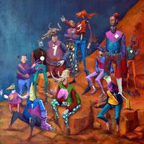 """En attendant """"Jésus"""". Acrylique sur toile. 70/70 cm. 2016"""