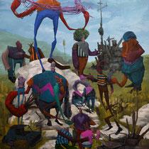 L'idée reste confuse. Acrylique sur toile. 73/92 cm. 2015