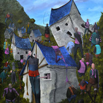 Un monde sans télévision. Acrylique sur toile. 73/92 cm. 2013
