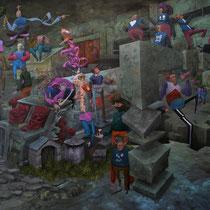 """""""Aux portes de Saint Pierre"""" ou """"Attente à la CPAM"""". Acrylique sur toile. 130/97 cm. 2016"""