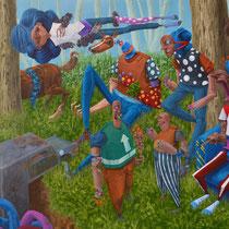 On ne discute pas sur l'herbe. Acrylique sur toile. 92/65 cm. 2017