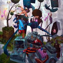 """Papier """"SVP"""". Acrylique sur toile. 73/92 cm. 2015"""