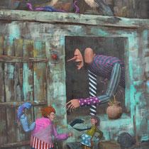 Néo-Eden. Acrylique sur toile. 60/92 cm. 2014