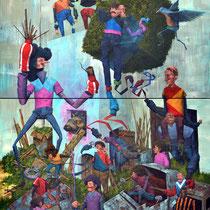 Comment nourrir un quadrupède ailé. Acrylique sur toile. (Diptyque). 116/170 cm. 2014