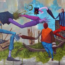 Démarcheur de foi. Acrylique sur toile. 80/40 cm. 2015