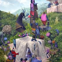 Rixes sexuées. Acrylique sur toile. 73/92 cm. 2012