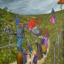 Nous irons à pied à Nantes. Acrylique sur toile. 73/92 cm. 2012