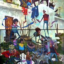 Echo d'un bruit sourd. Acrylique sur toile. (Diptyque). 116/170 cm. 2014