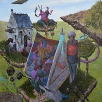 Les nouveaux voisins. Acrylique sur toile. 73/92 cm. 2013
