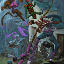 Balayons devant nos portes. Acrylique sur toile. 61/46 cm. 2015