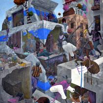 """Relation """"corbusienne"""". Acrylique sur toile. 65/92 cm. 2012"""