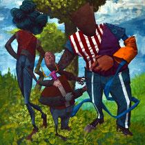 Manipulation par l'éducation. Acrylique sur toile. 33/41 cm. 2015
