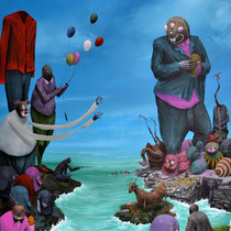 La politique, un jeu d'enfant gâté. Acrylique sur toile. 65/92 cm. 2012