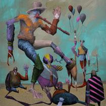 Les évadés. Acrylique sur toile. 38/46 cm. 2013